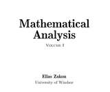 Mathematical Analysis, Volume 1