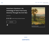 American Literature I: An Anthology of Texts From Early America Through the Civil War