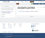 Unit 6 PowerPoint - Psychological and Psychiatric Theories of Crime