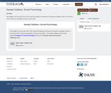 Sample Syllabus: Social Psychology