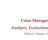 CULA 480: Crisis Management: Analysis, Evaluation, Creation
