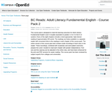 BC Reads: Adult Literacy Fundamental English - Course Pack 2