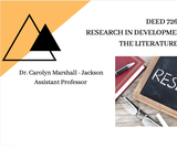 DEED 726 - Research in Dev. Ed/Lit ReviewTextbooks
